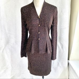 VTG Copper Metallic Knit Peplum Jacket Skirt Suit